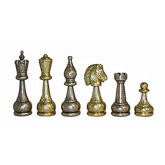 Large Staunton Metal Men Chess Pieces