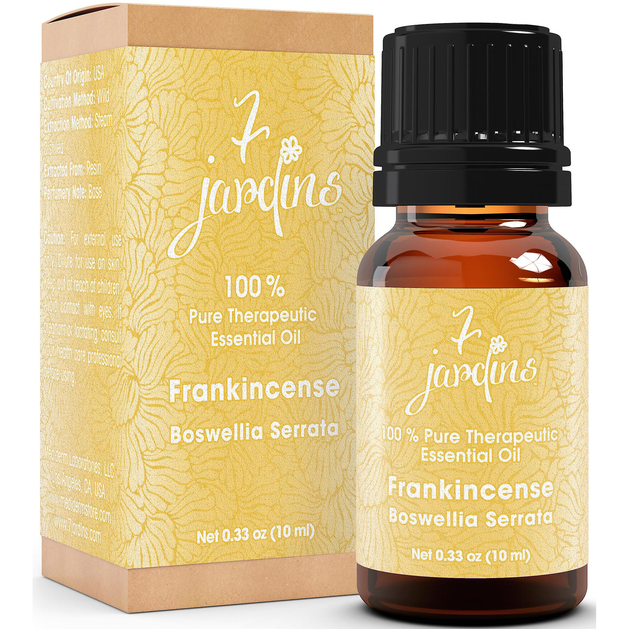 7 Jardins Premium Frankincense 100% Pure & Natural Therapeutic Grade Essential Oil. Olibanum 10 ml - For Aromatherapy, Anti Aging, Reducing Inflammation, Arthritic Pain & Scar Tissue