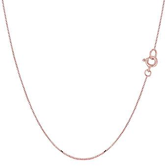 14k Rose Gold Classic Mirror Box Chain Necklace, 0.6mm