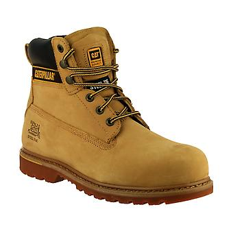 Caterpillar Mens Holton SB Safety Boots Textile Leather Rubber Sole Lace Up