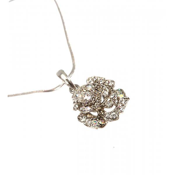 W.A.T Small Sparkling Clear Crystal Rose Pendant