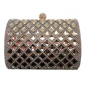 W.A.T Metallic gull speilet Crystal Clutch Bag