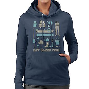 Eat Sleep Fish Fishing Equiptment Women's Hooded Sweatshirt