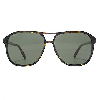 Gucci Vintage Pilot Sunglasses In Havana Polarised
