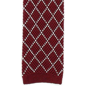 Michelsons of London Diamond Silk Knitted Skinny Tie - Wine/White