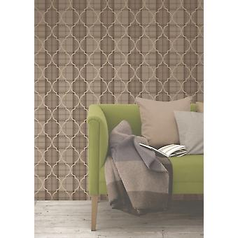 Fine Decor Cambridge Trellis Damask Chocolate Gold Checked Ginghams Wallpaper