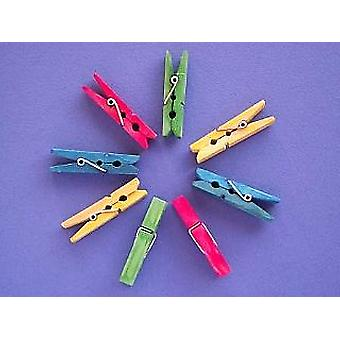 24 Midi Coloured Wooden Pegs | Wooden Shapes for Crafts