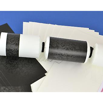 8 White & Black Damask Make & Fill Your Own Party Crackers - Craft Kit