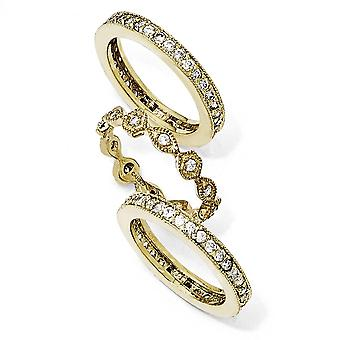 Gold-Flashed Sterling Silver Eternity band Cubic Zirconia Eternity Three Ring Set - Ring Size: 7 to 8