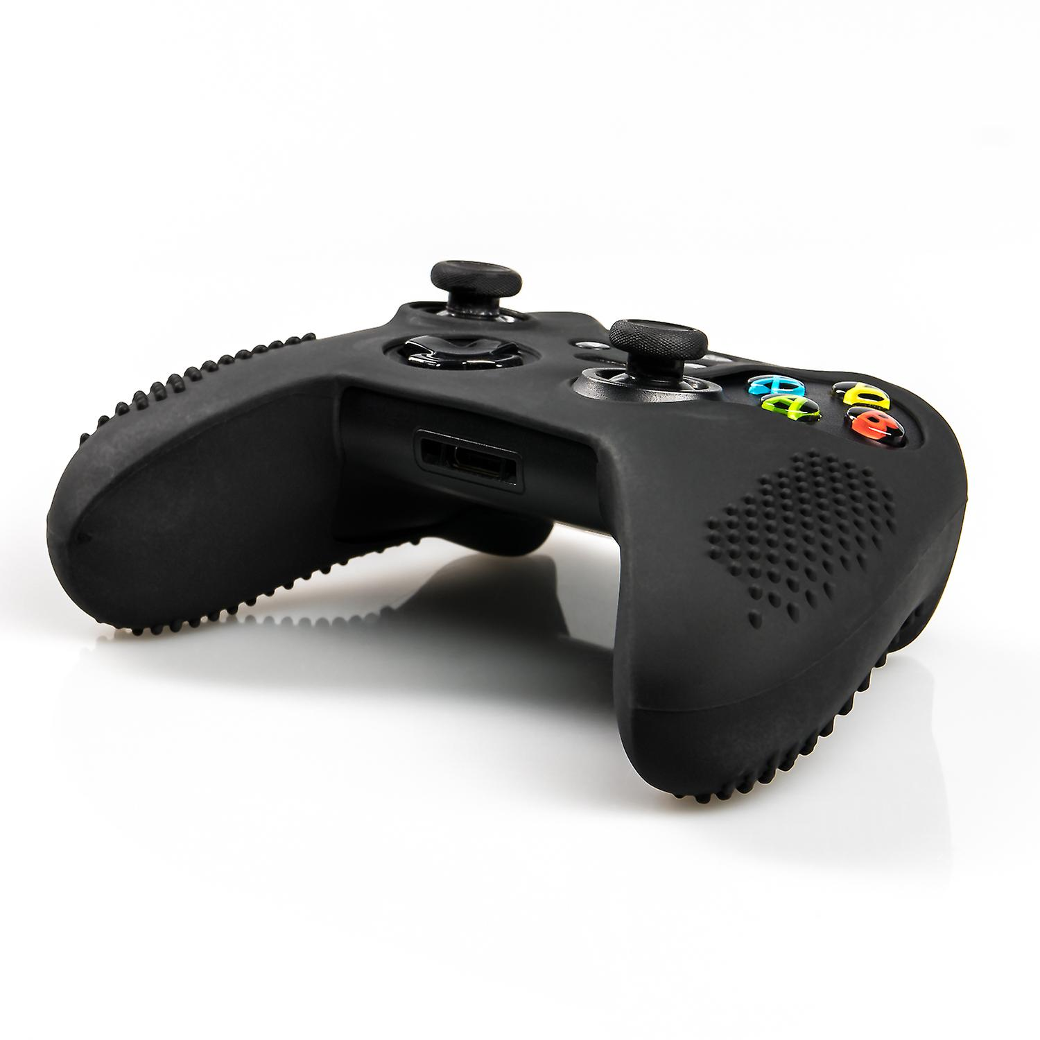 Studded silicone cover skin anti-slip Compatible for Xbox One x 1 Black