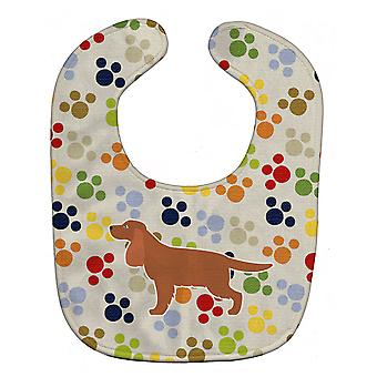 Carolines trésors BB6317BIB English Cocker Spaniel Pawprints Baby Bib