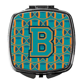 Letter B Football Aqua, Orange and Marine Blue Compact Mirror