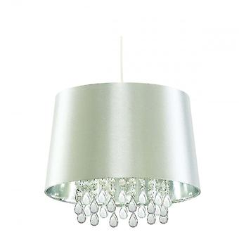 Searchlight CL7026SICW Pendants 1 Light Ceiling Pendant Light In Silver With Acrylic Drops