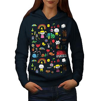 Cute Colorful Women NavyHoodie | Wellcoda