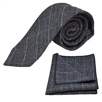 Stone Blue Birdseye Check Tie & Pocket Square Set