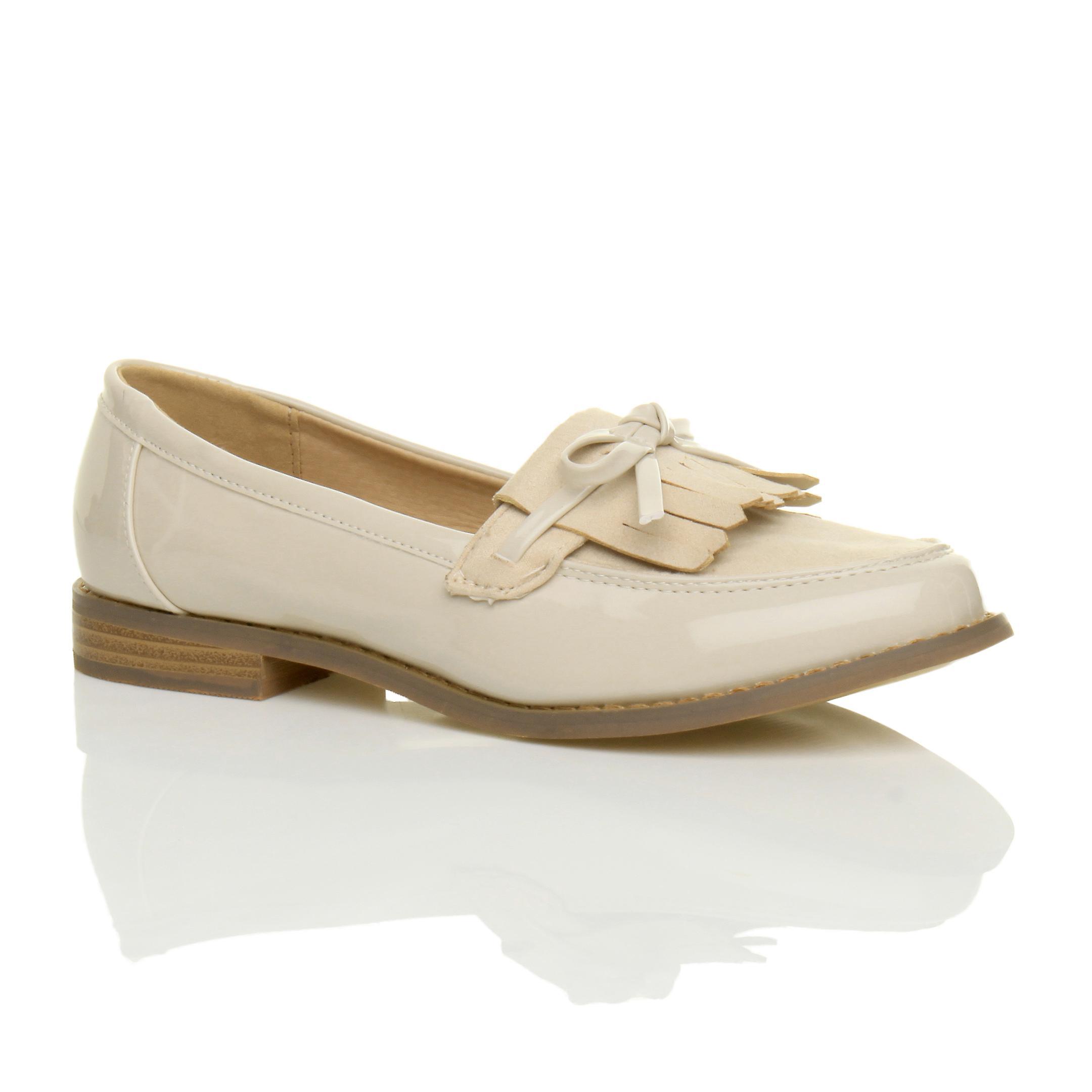 Ajvani womens flat low heel contrast fringe tassel bow loafers work shoes