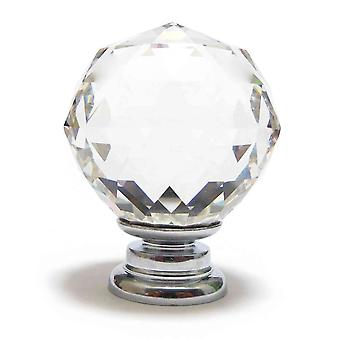 Clear Crystal Cut Faceted Glass Knob (M)