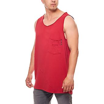 JUNK YARD Philip Pocket Shirt mens top red with chest pocket