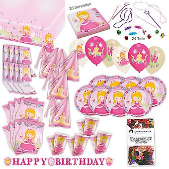 Princess pink party set XL 101-teilig for 8 guests Princess party party package