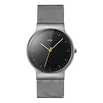 Braun Men's Quartz Watch with Black Dial Analogue Display and Silver Stainless Steel Bracelet