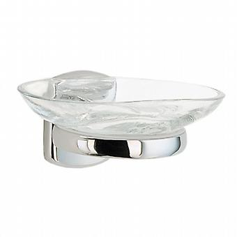 Cabin Holder with Glass Soap Dish - Polished Chrome (CK342)