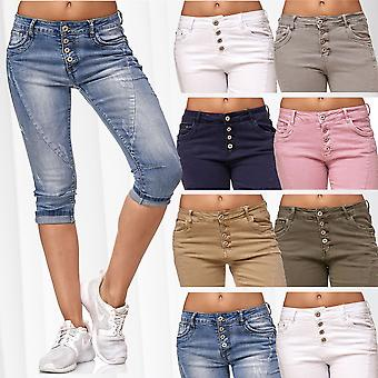 Ladie's Capri Jeans 3/4 Pants Boyfriend Shorts Chino Trousers Stretch Casual