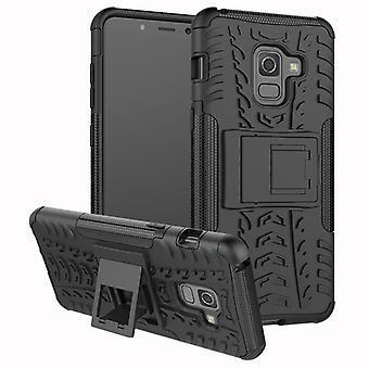Hybrid Case 2teilig Outdoor Schwarz Tasche Hülle für Samsung Galaxy A8 A530 2018