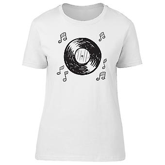Vinyl Record With Musical Notes Tee Women's -Image by Shutterstock