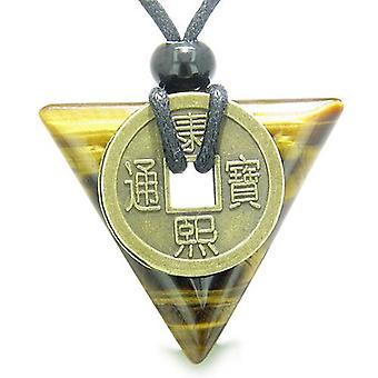 Amulet trekant beskyttelse beføjelser antik Lucky Coin charme Tiger øje pilespids vedhæng halskæde