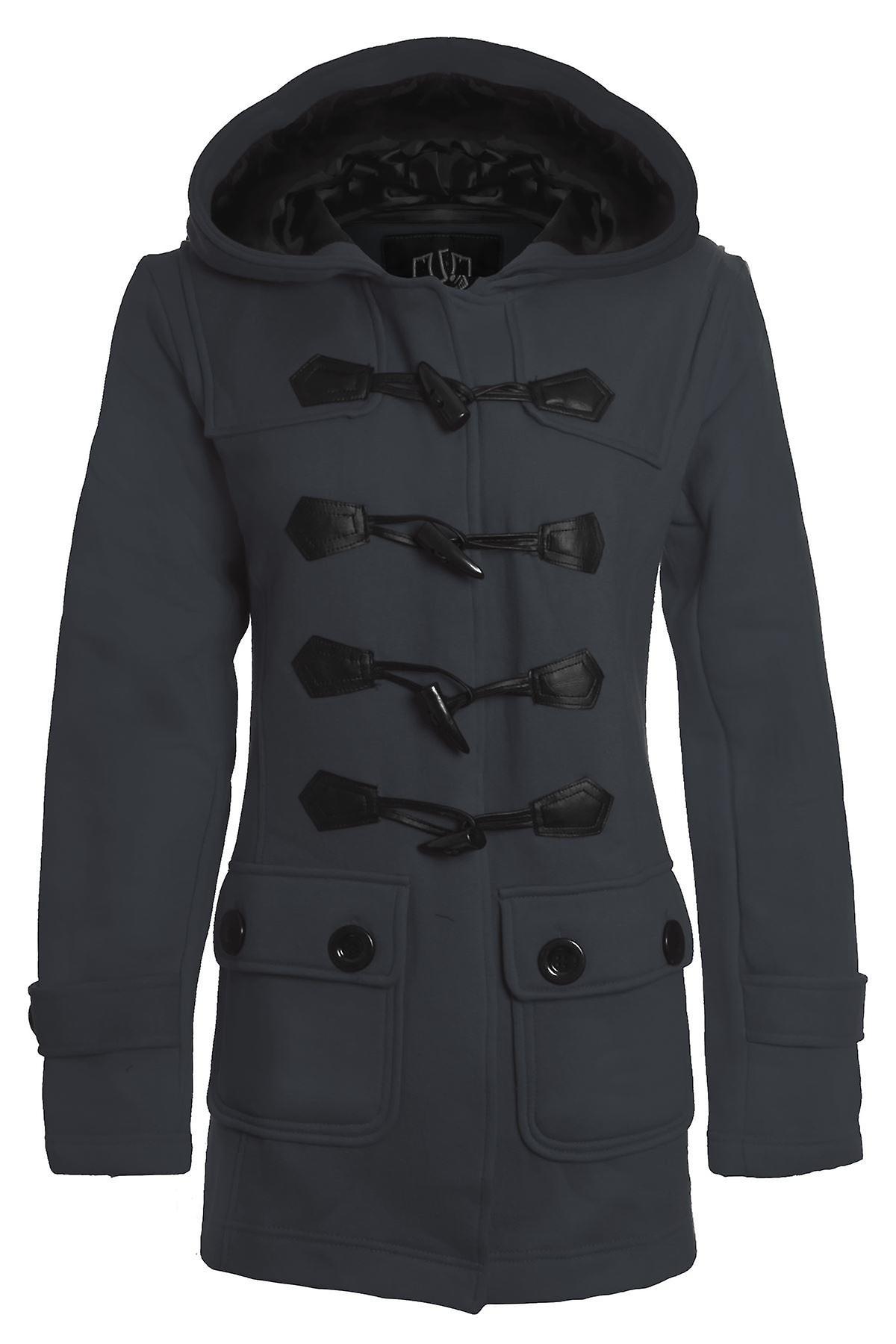 New Women's Duffle Trench Hooded Pocket Ladies Coat Jacket