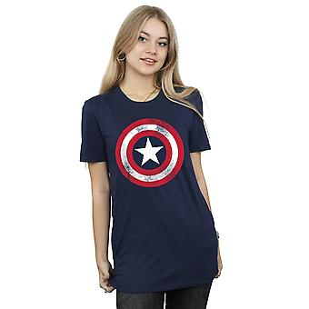 Marvel Women's Captain America Distressed Shield Boyfriend Fit T-Shirt