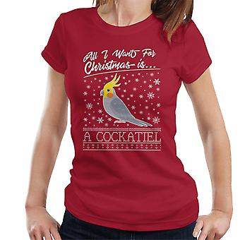 All I Want For Christmas Is A Cockatiel Knit Pattern Women's T-Shirt