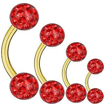 Geschwungene Langhantel vergoldet Titan 1,6 mm, Multi Kristall Kugel rot   6 - 16 mm