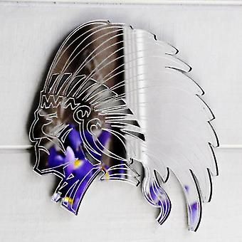 Indian Chief in Headdress Cut & Engraved Acrylic Mirror