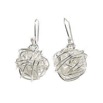 Cavendish French Sterling Silver Spun Ball Drop Earrings