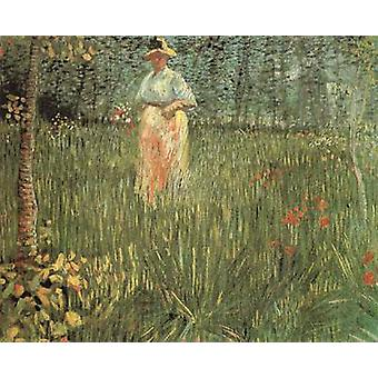 A Woman Walking in a Garden, Vincent Van Gogh, 48x60cm