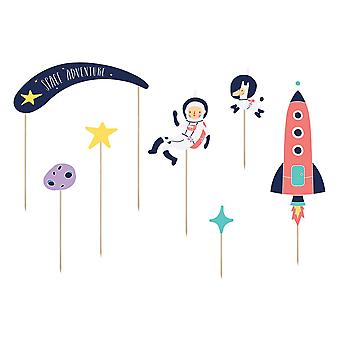 Space Birthday Party Cake Food Toppers x 7 Rocket, Astronaut, Star