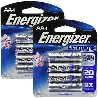 8 x Energizer L91 Ultimate Lithium Battery AA Size