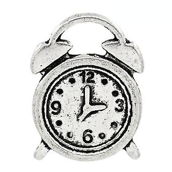 Packet 10 x Antique Silver Tibetan 17mm Clock Charm/Pendant ZX06330