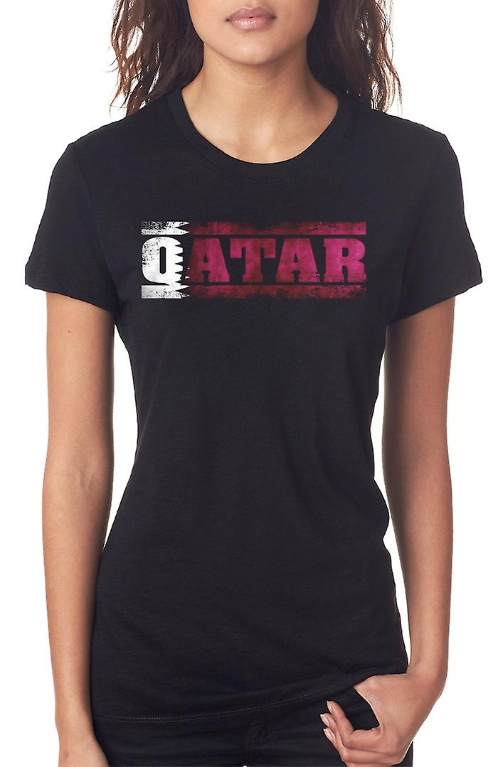 Qatar Flag - Words Ladies T Shirt
