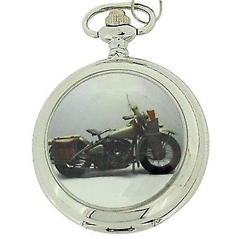 Boxx Gents White Dial Harley Motor Bike Pocket Watch on 12 Inch Chain Boxx96