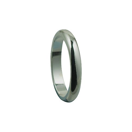 Silver 3mm plain D shaped Wedding Ring Size J
