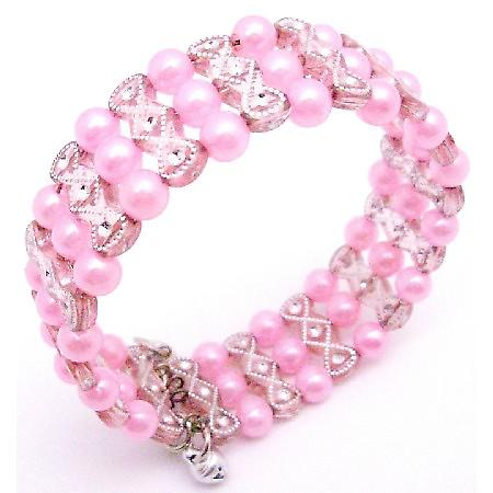 Pink Pearls w/ Pink Designed Cuff Bracelet Bangle/Stretchable Bracelet