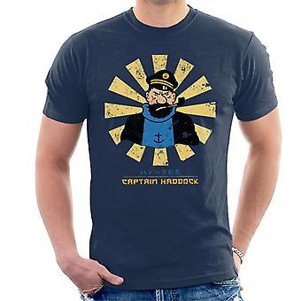 Kaptein Haddock Retro japanske Tintin menn t-skjorte