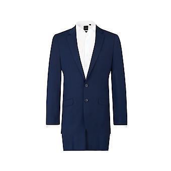 Dobell Mens Dark Blue 2 Piece Suit Slim Fit Notch Lapel