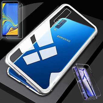 Para Samsung Galaxy A50 6.4 polegadas ímã / metal / vidro bolsa case prata / transparente + 0,26 mm vidro duro H9