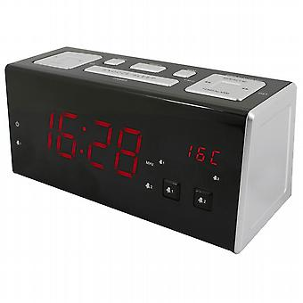 Clock radio with USB charging port.