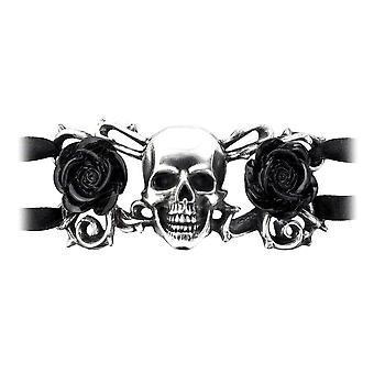 Alchemy Gothic Skull and Briar Rose Pewter Bangle