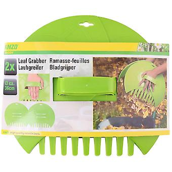 Big Hands Garden Leaf & Grass Collector Waste Rubbish & Litter Scoop Rake 36x31x8cm 2pc