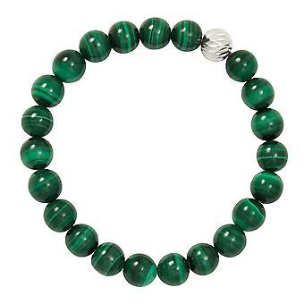 Eternal Collection Debutante Green Malachite Semi Precious Beaded Silver Tone Stretch Bracelet